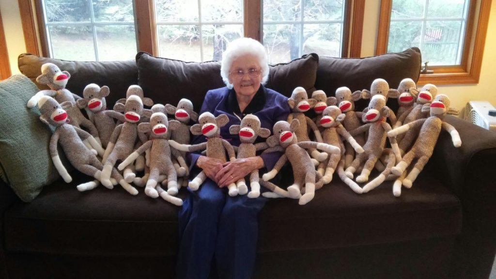 Mom with Sock Monkeys